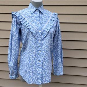 Vintage ruffled western prairie shirt M